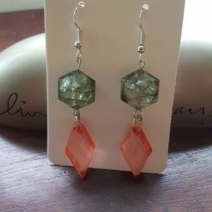💗Pink & Green 💚 Crystal 💎 Statement Earrings 💎